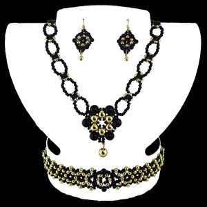 Arany-fekete Medálos Virág Variáció, Ékszer, Ékszerszett, Ékszerkészítés, Gyöngyfűzés, gyöngyhímzés, Egyedi tervezésű és készítésű gyöngyfűzött ékszerszett, nyaklánccal, karkötővel és fülbevalóval. Ara..., Meska