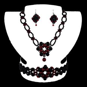Vörös-fekete Medálos Virág Variáció, Ékszer, Ékszerszett, Ékszerkészítés, Gyöngyfűzés, gyöngyhímzés, Egyedi tervezésű és készítésű gyöngyfűzött ékszerszett, nyaklánccal, karkötővel és fülbevalóval. Vör..., Meska