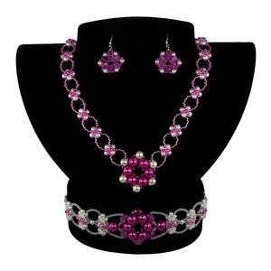 Pink-fehér Virág Variáció, Ékszerszett, Ékszer, Ékszerkészítés, Gyöngyfűzés, gyöngyhímzés, Egyedi tervezésű és készítésű gyöngyfűzött ékszerszett, nyaklánccal, karkötővel és fülbevalóval. Pin..., Meska