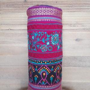 Hímzett hengerpárna - pink/türkiz/fekete/narancs/lila, Otthon & lakás, Dekoráció, Lakberendezés, Lakástextil, Párna, Hímzés, Varrás, Eredeti, indiai hímzésekből megalkotott párna, csodaszép élénk színekkel, sok kézi öltéssel tovább g..., Meska