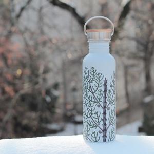 Európai ciprus palack, NoWaste, Festett tárgyak, Tulajdonságok:\n\nKézzel festett, egyedi díszítés\nRozsdamentes acél\nBármilyen innivalót bele lehet töl..., Meska