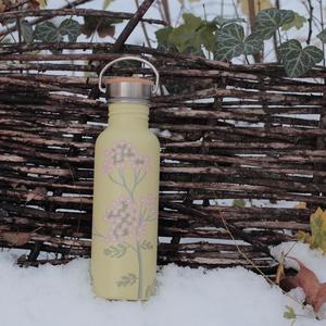 Rózsaszín cickafark palack, NoWaste, Festett tárgyak, Tulajdonságok:\n\nKézzel festett, egyedi díszítés\nRozsdamentes acél\nBármilyen innivalót bele lehet töl..., Meska