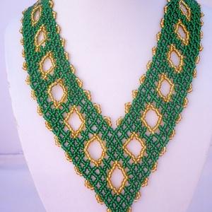 Zöld-arany színű széles gyöngy nyakék, nyaklánc, ajándék  (Evamanufaktura) - Meska.hu