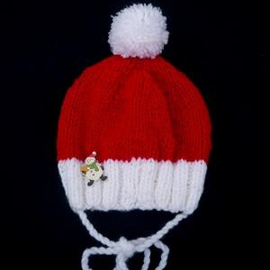Télapó, mikulás kötött baba, gyerek sapka, ajándék, Ruha & Divat, Babaruha & Gyerekruha, Babasapka, Kötés, Egész télen hordható jó meleg sapka.\n\nAnyaga akril fonal.\n\nMikulásra, Karácsonyra is egy ötletes ajá..., Meska