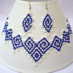 """kék-fehér """"görög"""" nyaklánc-fülbevaló szett, gyöngygallér, gyöngynyaklánc, gyöngynyakék, Ékszer, Ékszerszett, Görög színeket és hangulatot idéző nyaklánc-fülbevaló szett.  Anyaga cseh üveg kásagyöngy.   Ajándék..., Meska"""