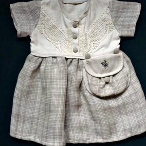 Lenvászon kockás kislány ruha 0-3 év, Ruha & Divat, Ruha, Babaruha & Gyerekruha, Varrás, Meska
