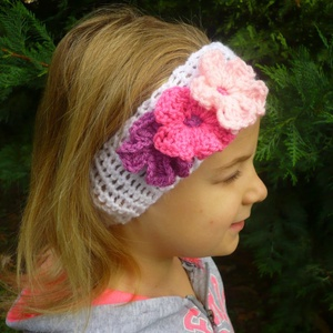 kislány, gyerek horgolt pillangós virágos hajpánt fejpánt fülmelegítő, Ruha & Divat, Babaruha & Gyerekruha, Horgolás, Meska