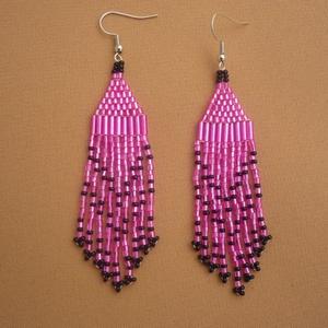 Pink-fekete  gyöngy lógós, hosszú fülbevaló, ajándék (Evamanufaktura) - Meska.hu