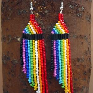 Szivárvány színű színes  gyöngy lógós, hosszú fülbevalók, ajándék, Csillár fülbevaló, Fülbevaló, Ékszer, Gyöngyfűzés, gyöngyhímzés, Szivárvány színű gyöngy fülbevaló\n\nCseh kásagyöngyből készült. \n\nHossza 10 cm akasztóval együtt, szé..., Meska