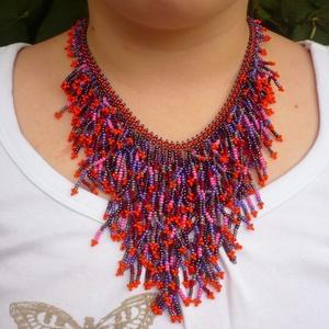 ősz színei bohém  gyöngynyaklánc, gyöngy nyaklánc, gyöngygallér, gyöngy ékszer, Ékszer, Gyöngyös nyaklác, Nyaklánc, Gyöngyfűzés, gyöngyhímzés, Meska