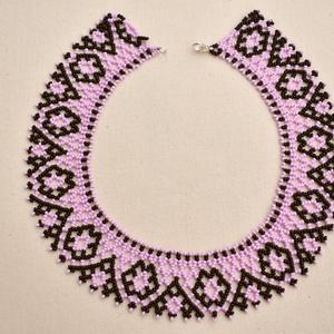 fekete-rózsaszín csángó tászli, gyöngynyaklánc, gyöngygallér - ékszer - nyaklánc - nyakpánt, gallér - Meska.hu