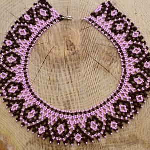 fekete-rózsaszín csángó tászli, gyöngynyaklánc, gyöngygallér - Meska.hu