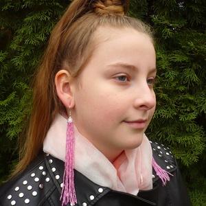 VÁLLIG ÉRŐ, extra hosszú szépséges rózsaszín gyöngy fülbevaló, Ékszer, Csillár fülbevaló, Fülbevaló, Gyöngyfűzés, gyöngyhímzés, Meska