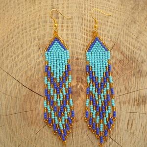 Türkiz-kék-arany gyöngy fülbevaló, gyöngy ékszer, Ékszer, Csillár fülbevaló, Fülbevaló, Gyöngyfűzés, gyöngyhímzés, Meska