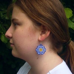 Virágos gyöngy lógós hosszú fülbevaló, ajándék, Ékszer, Lógó fülbevaló, Fülbevaló, Gyöngyfűzés, gyöngyhímzés, Meska