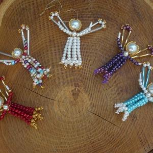 5 db karácsonyi gyöngy angyalka karácsonyfadísz, egyedi ajándék, Karácsony, Karácsonyi lakásdekoráció, Gyöngyfűzés, gyöngyhímzés, Meska