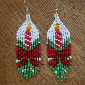 Karácsonyi gyertya gyöngy fülbevaló, ünnepi gyöngy fülbevaló - Meska.hu