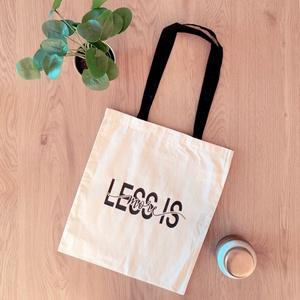 """Bevásárlótáska, Táska & Tok, Bevásárlás & Shopper táska, Shopper, textiltáska, szatyor, Fotó, grafika, rajz, illusztráció, Decoupage, transzfer és szalvétatechnika, Saját grafikával ellátott bevásárlótáska, Less is More, azaz ,,a kevesebb több"""" felirattal. Környeze..., Meska"""