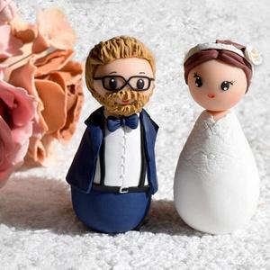 Esküvői tortadísz, Sütidísz, Dekoráció, Esküvő, Gyurma, A tortadíszt polymerből készítettem, tartós, nem törik, vízálló. \nA megrendelő kérésére készült. \nFo..., Meska