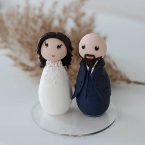 Esküvői tortadísz, személyre szabott, Esküvő, Dekoráció, Sütidísz, Gyurma, A tortadíszt polymerből készítettem, tartós, nem törik, vízálló. \nA megrendelő kérésére készült. \nFo..., Meska