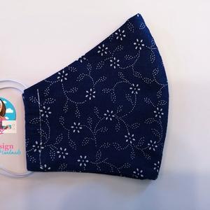 Textil maszk kék alapon virágos, NoWaste, Otthon & lakás, Textilek, Kendő, Varrás, Textil maszk tájékoztató:  Formájának köszönhetően jól igazodik az arcra.  1. Anyag összetétele: 10..., Meska