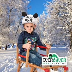 Panda sisakhuzat gyerekeknek, XS-M bukósisakokra tervezve, Táska, Divat & Szépség, Gyerekruha, Ruha, divat, Gyerek & játék, Gyerek (1-10 év), Sál, sapka, kesztyű, Varrás, PANDÁS sisakhuzattal vidámmá varázsolhatod gyermeked bukósisakját!\nRugalmas elasztikus anyagból kész..., Meska