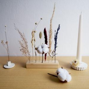 Szárazvirág asztali dísz, Otthon & Lakás, Dekoráció, Asztaldísz, Virágkötés, Fa lécben álló szálas szárazvirág dísz, mely igazán különlegessé teheti az étkező asztalod, de egy k..., Meska