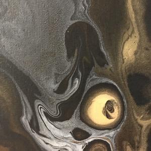 Hol a medúza?, Művészet, Festmény, Akril, Festészet, Arany-fekete absztrakt festmény.\n40 x 60 cm feszített vászonra készült egyedi, különleges technikáva..., Meska