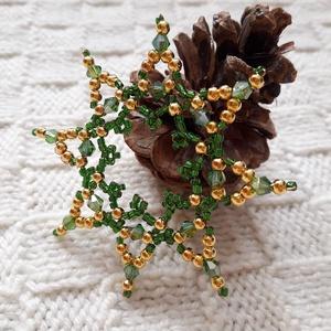 Diána - gyöngy karácsonyfadísz (3. rész), Otthon & Lakás, Karácsony & Mikulás, Karácsonyfadísz, Gyöngyfűzés, gyöngyhímzés, Rézdrótra fűztem a képeken látható csillagokat. Tekla, kása-, és csillogó üveggyöngyöket használtam ..., Meska