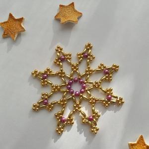 Lilla - gyöngy karácsonyfadísz, Otthon & Lakás, Karácsony & Mikulás, Karácsonyfadísz, Gyöngyfűzés, gyöngyhímzés, Rézdrótra fűztem a képen látható díszeket. Arany színű teklát és zabszemgyöngyöt használtam, hogy mé..., Meska