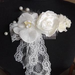 Vintage hajdísz orchideával esküvőre, Esküvő, Fésűs hajdísz, Hajdísz, Virágkötés, Varrás, Meska