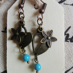 Antik bronz szív, virággal fülbevaló (eviara) - Meska.hu