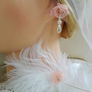 Shabby chic esküvői fátyol és fülbevaló - Meska.hu