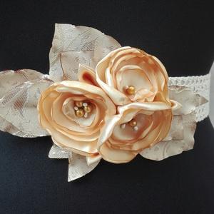 Csipke öv arany virágokkal, Esküvő, Hajdísz, ruhadísz, Esküvői ékszer, Esküvői dekoráció, Megrendelt termék, amennyiben ilyen övet szeretnél, kérlek keress belső üzenetben. Csipke, szatén , ..., Meska