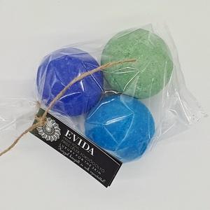 Vízszínező fürdőbomba csomag kék-lila-zöld, Fürdőgolyó, Szappan & Fürdés, Szépségápolás, Kozmetikum készítés, Igazi wellness élmény! Aromaterápia, színterápia, hidratálás és méregtelenítés! \n\nKellemes, lazítás ..., Meska