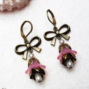 Rózsaszín virág fülike (Evii) - Meska.hu