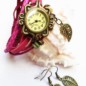 Pink levélke karóra/ékszeróra, Ékszer, Karkötő, Karóra, Különleges óra réz színű foglalatban pinkes, málnás színű bőr szíjjal és fa gyöngyökkel. A bőrszíj p..., Meska