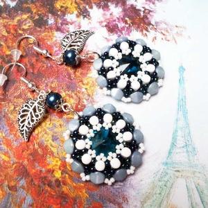 """""""Egy nap Párizsban"""" fülbevaló, Ékszer, Fülbevaló, A szürkéskék és sapphire színű gyöngyöket fehérrel kombináltam ebben a fülbevalóban. Kapott egy - eg..., Meska"""