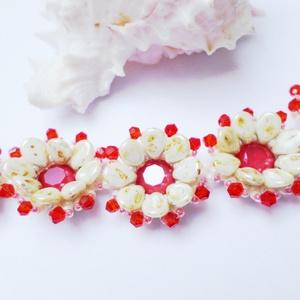 Piros virágok karkötő (Evii) - Meska.hu