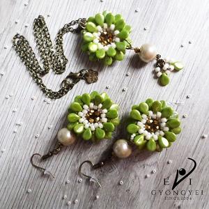 Zinnia, Ékszer, Karkötő, ZINNIA  Ezt a csodás pip virágot most üdítő zöld színben kreáltam meg. Barna középpel, zöld szirmokk..., Meska