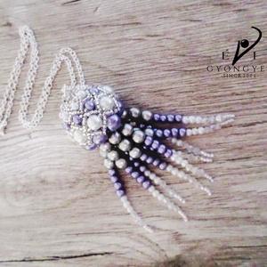 Medúza, Ékszer, Medál, Nyaklánc, Csúcsszuper, különleges tengerparti nyarat idéző ékszer ez a medúza medál. Tekla gyöngyökből készíte..., Meska