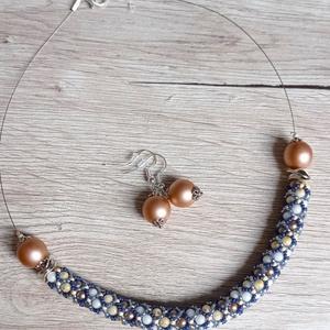 Kék és mogyoró színű nyakék (Evii) - Meska.hu