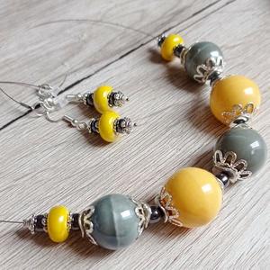 Yellow and grey, Ékszer, Nyaklánc, Medál nélküli nyaklánc, Ékszerkészítés, Gyöngyfűzés, gyöngyhímzés, Meska
