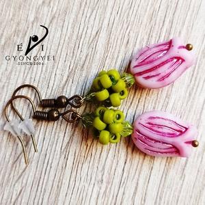 Rózsaszín tulipán fülbevaló - Meska.hu