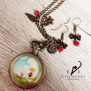 """The Little Prince - A Kis Herceg rókával óra II., Ékszer, Karóra és Ékszeróra, Nyaklánc óra, Ékszerkészítés, Gyöngyfűzés, gyöngyhímzés, \""""Az idő, amit a rózsádra vesztegettél: az teszi olyan fontossá a rózsádat.\""""\n\nEzt az órát piros gyöng..., Meska"""