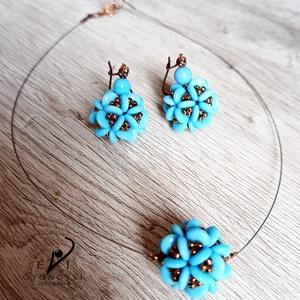 Kék virággömbök szett - ékszer - ékszerszett - Meska.hu