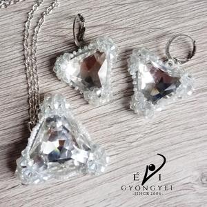 Crystal háromszög szett, Ékszer, Nyaklánc, Medálos nyaklánc, Ékszerkészítés, Gyöngyfűzés, gyöngyhímzés, Meska