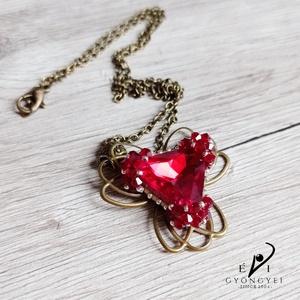 Piros háromszög medál, Ékszer, Nyaklánc, Medálos nyaklánc, Ékszerkészítés, Gyöngyfűzés, gyöngyhímzés, Meska