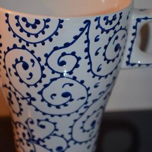Kékmintás bögre (Evuart) - Meska.hu