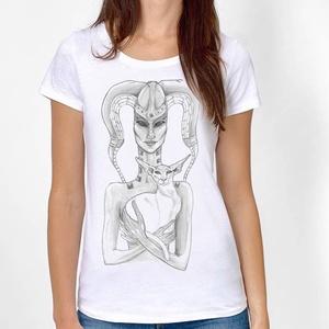 UFO alienes macskás póló, egyedi férfi és női póló, póló egyedi illusztrációval, hipster póló, Táska, Divat & Szépség, Ruha, divat, Férfi ruha, Női ruha, Póló, felsőrész, Decoupage, transzfer és szalvétatechnika, Fotó, grafika, rajz, illusztráció, Egyedi grafikás póló\n\nElkészítési idő: 2-3 munkanap\nSzállítási idő: 2 munkanap\nEzért kérjük, hogy ös..., Meska